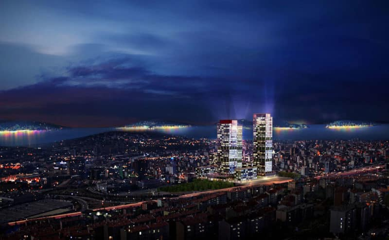 Istanbul residential towers with Princess Islands view
